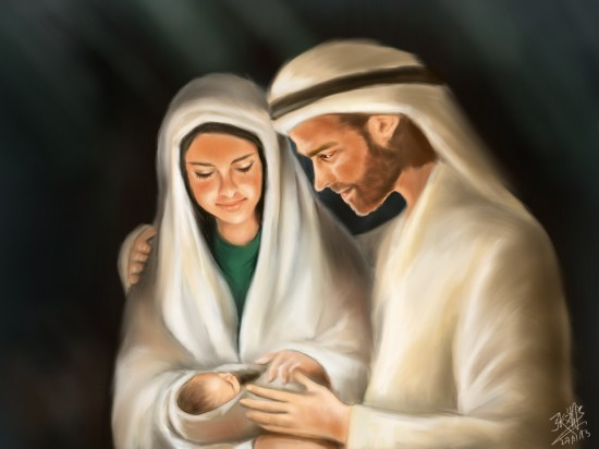 Illustrated with XStylus Touch | Mary, Joseph and Baby Jesus by David Chong