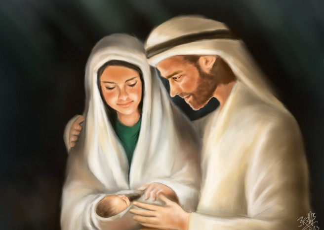 Illustrated with XStylus Touch on iPad| Mary, Joseph and Baby Jesus by David Chong