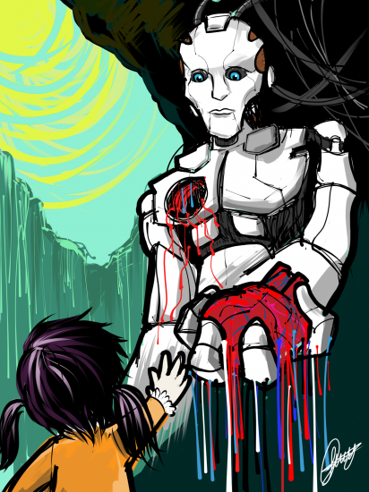 Valentines Illustration| Robot Heart Girl | XStylus Touch ipad Touch pen + LiWen Choy