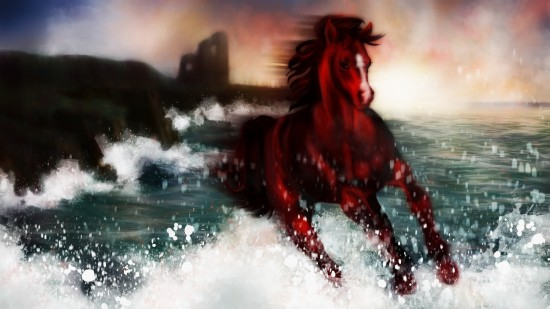 Illustrated with XStylus Touch | Horse Running Off Irish Coast by Fiona Boniwell from Boniwell GrafikArts