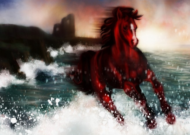 Illustrated with XStylus Touch on iPad| Horse Running Off Irish Coast by Fiona Boniwell from Boniwell GrafikArts
