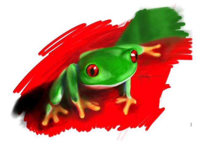 Illustrated with XStylus Touch on iPad   Tree Frog by Trang Dang