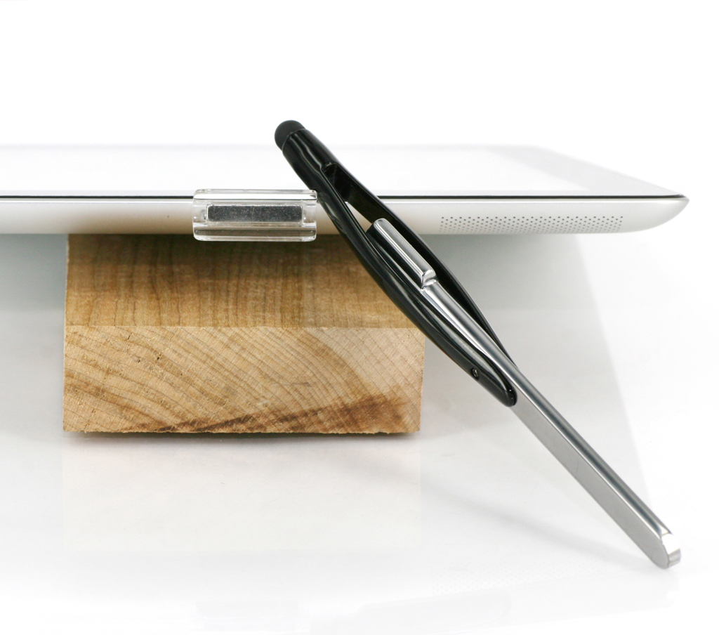 Discreet crystal clear magnetic XStylus holder on the iPad 2