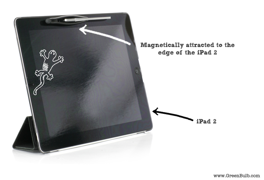 XStylus Touch magnetically attracted to the edge of the iPad 2